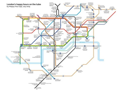 Alternative tube map shows nearest happy hour deals to London Underground stations