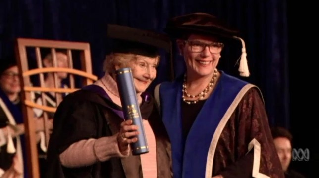 90-year old woman graduates in Melbourne and proves it's never too late to study. Lorna Prendergast.