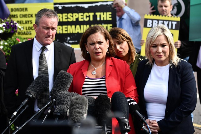 BELFAST, NORTHERN IRELAND - JULY 31: Sinn fein leader Mary Lou McDonald speaks to the media following her meeting with Prime Minister Boris Johnson at Stormont