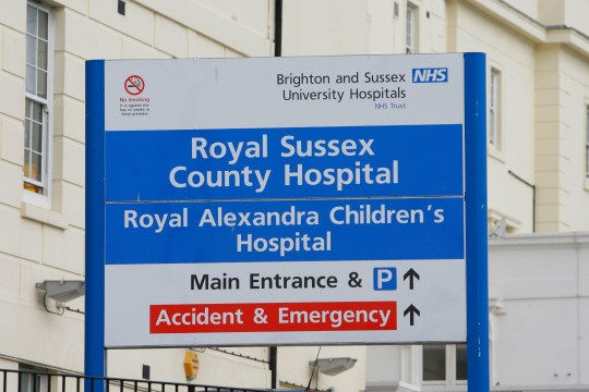 The Royal Sussex County Hospital, Eastern Road, Brighton, Sussex, where an investigation is underway today followng claims the body of a stillborn baby was left in a plastic bag next to his parents in the hospital.