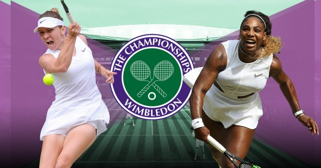 Simona Halep and Serena Williams in action at Wimbledon