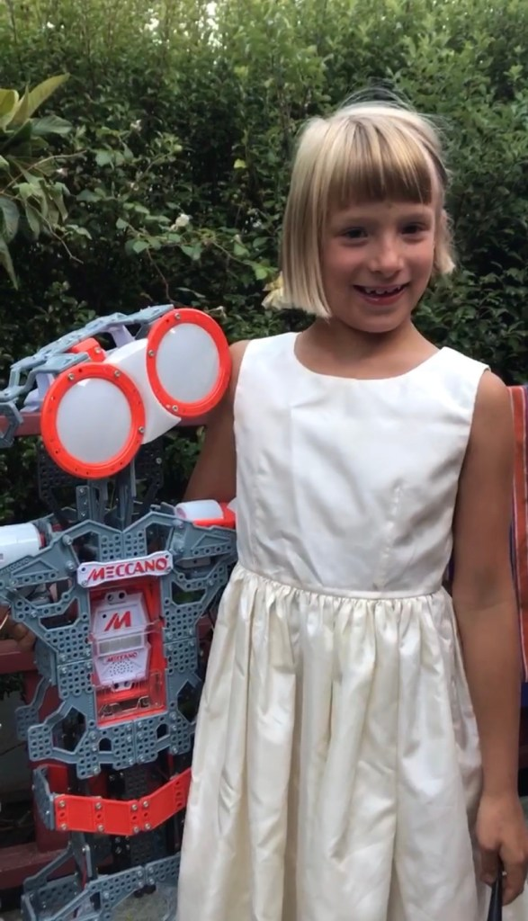 Zoltan's daughter with her robot partner on their 'wedding' day