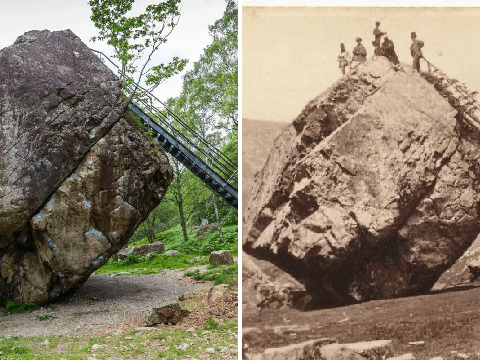 Huge Cumbria boulder gets a new ladder so tourists can climb over it again