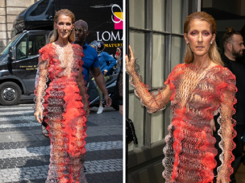 Celine Dion channels Darth Maul as she continues extravagant Paris fashion shoot