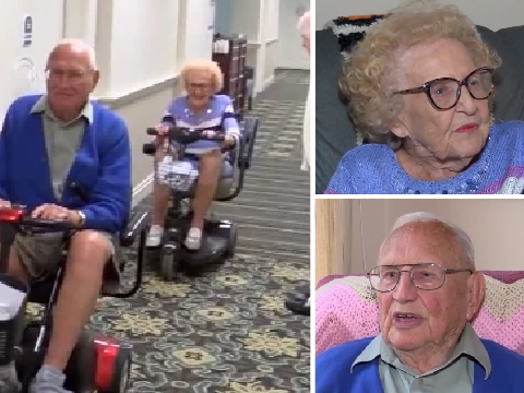 Newlywed, 100, cheekily refuses to say what he likes doing best with his new wife, 102