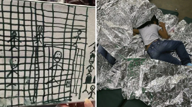The disturbing images show drawings by migrant children and predominately depict people in cages
