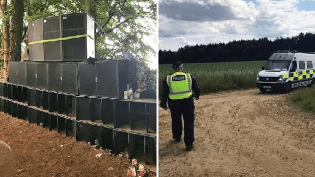 An illegal rave in Norfolk was brought to a close after a social media user told police