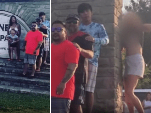 Photobomber flashed her breasts as grieving family posed for snap at beauty spot