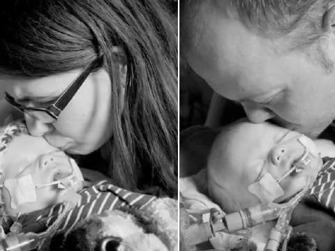 Devastating moment parents say goodbye to baby boy who died after 'inhaling his own vomit'