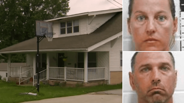 Photo of house where children were abused next to mugshots of Kelly and Kenny Fry