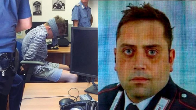 Gabriel Christian Natale-Hjorth pictured blindfolded next to file photo of murdered police officer Mario Cerciello Rega