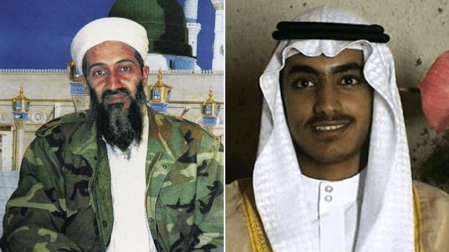 Photo of Osama bin Laden next to photo of his son Hamza