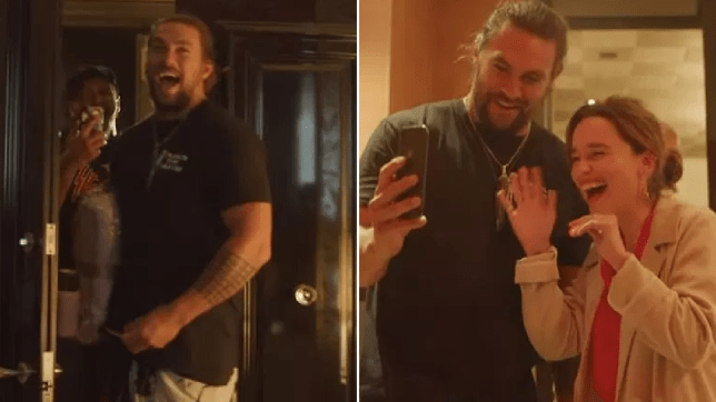 Jason Momoa's 40th birthday party where Emilia Clarke FaceTimed his