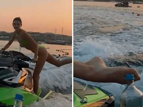 Kendall Jenner slays Bottle Cap Challenge on an actual jetski during Mykonos holiday