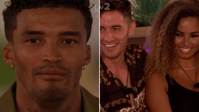 Michael, Greg and Amber on Love Island