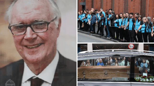Primark staff gather outside the very first store to give its founder a guard of honour