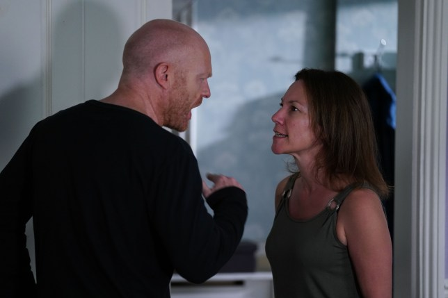 Max and Rainie fight in EastEnders