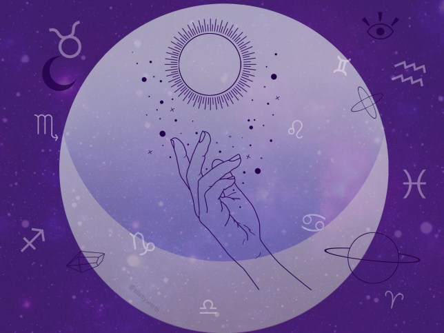 Illustration of a hand with planets, stars and moons on an astrological background in purple