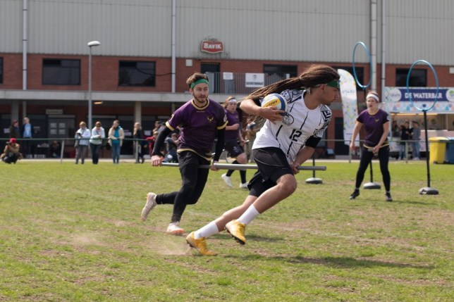 Gio Forino on the Quidditch pitch