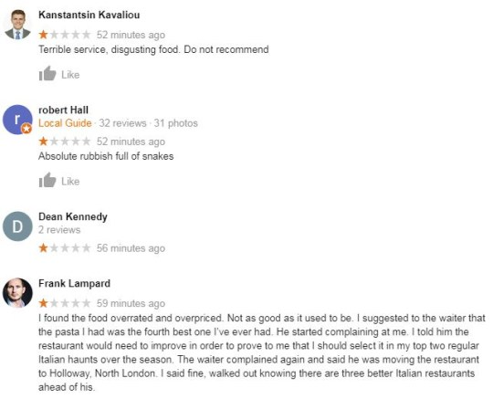 David Luiz restaurant Babbo was flooded with negative reviews
