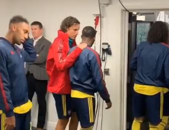 David Luiz was pictured talking to Ainsley Maitland-Niles before Arsenal's win over Newcastle