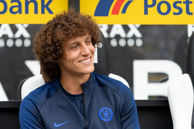 David Luiz sitting on the bench for Chelsea in Germany