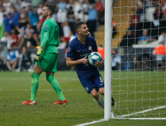 Jorginho celebrates after scoring a penalty for Chelsea