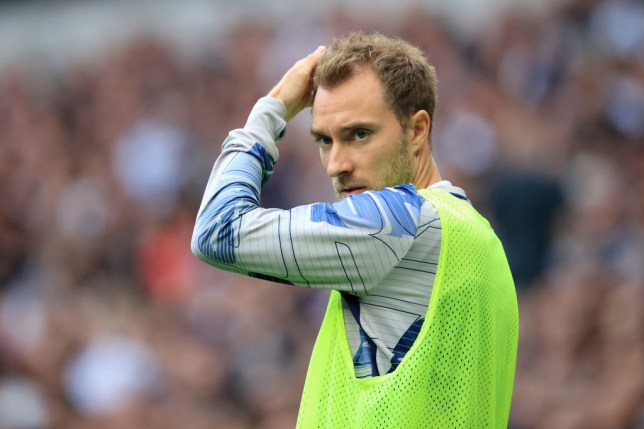 Christian Eriksen watches on during Tottenham's game against Aston Villa