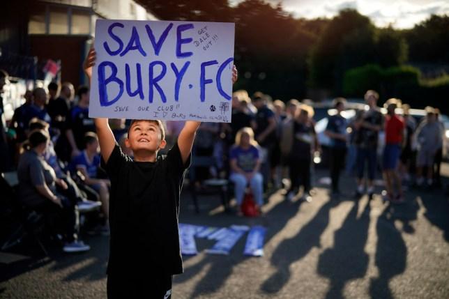 Fans outside Bury FC