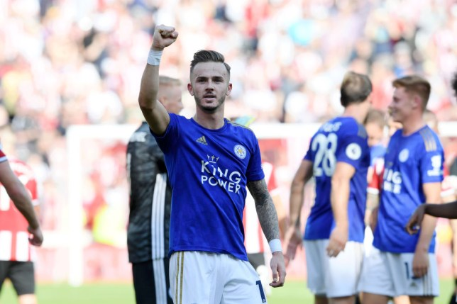 James Maddison celebrates after Leicester's win against Sheffield United