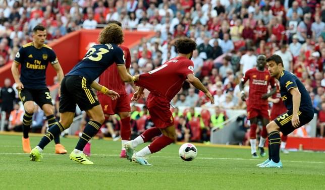 David Luiz had a big grip on Mohamed Salah's shirt