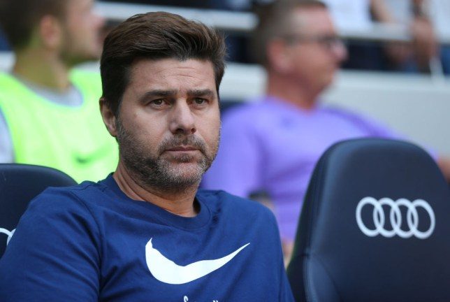 Mauricio Pochettino watches Tottenham's game against Newcastle from the dugout