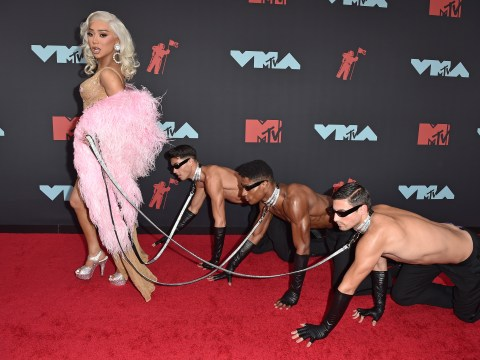 Nikita Dragun slams 'sexist' claims after walking MTV VMAs red carpet with men on leashes