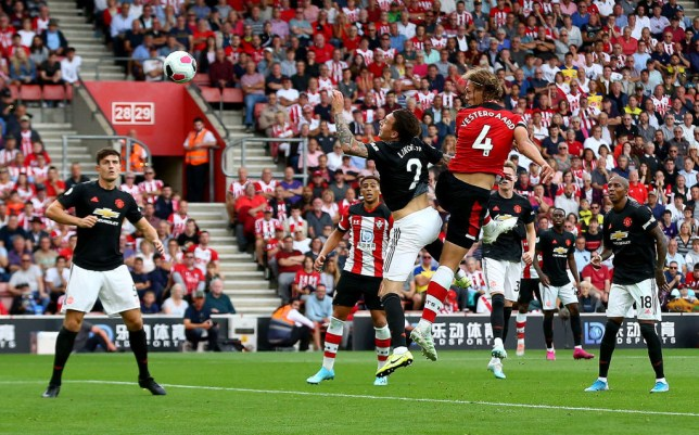 Jannik Vestergaard rises above Victor Lindelof to score for Southampton against Manchester United