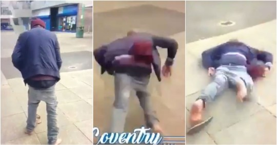 Homeless man shoved to ground by man pretending to help him
