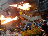 Hong Kong protests turn violent as police fire gun and Molotov cocktails are thrown