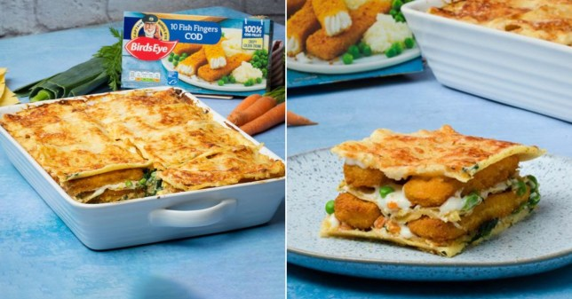 Birds Eye fish finger lasagne picture as a whole and a slice