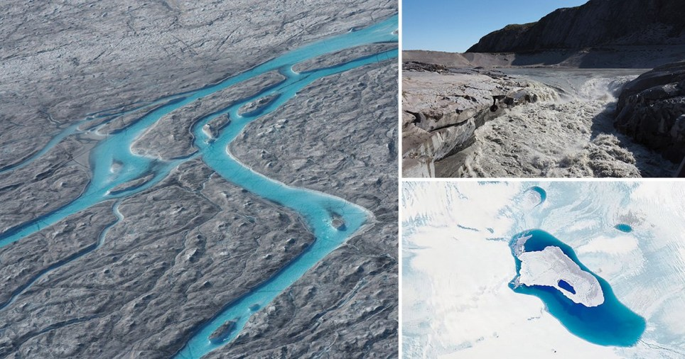 Melted ice on the ice sheet in Greenland