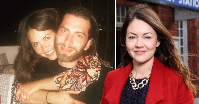 Lacey Turner and Matt Kay alongside a photo of Lacey Turner as Stacey Fowler in EastEnders