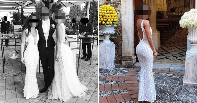 Split image of the guest who showed up in a white dress to her friend's wedding