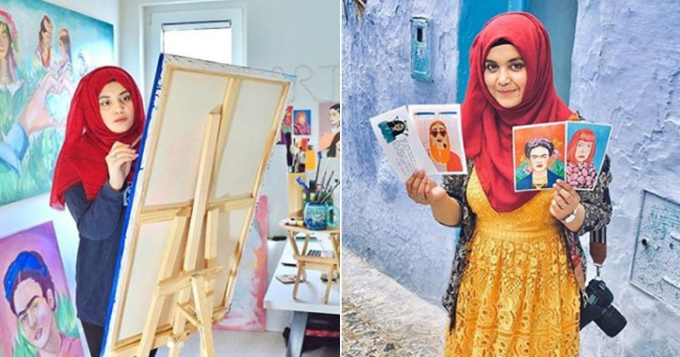 Maliha Abidi, the woman who paints incredible pakistani women seen with her canvas and holding up her paintings