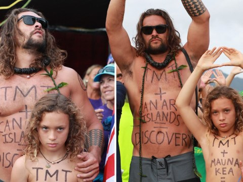 Jason Momoa jokes his 'dad bod is a great billboard' as he protests telescope with lookalike kids