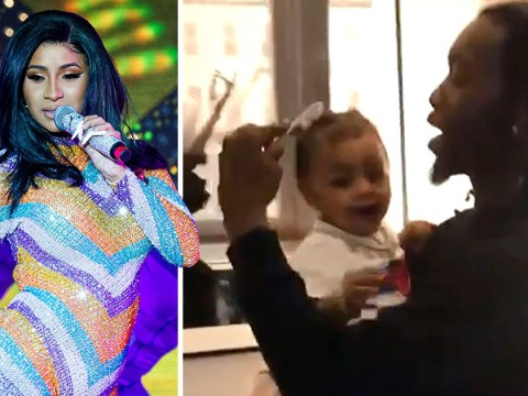 Cardi B trusts Offset to do baby Kulture's hair and the tot's reaction is priceless