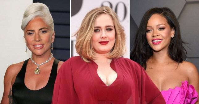Comp of Lady Gaga, Adele and Rihanna