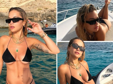Rita Ora shows us all the angles as she poses in black bikini during Ibiza getaway with the girls