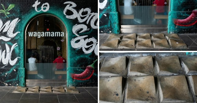 Anti-homeless spikes, known as 'street furniture' outside Wagamama, Clink Street, Southwark, central London.