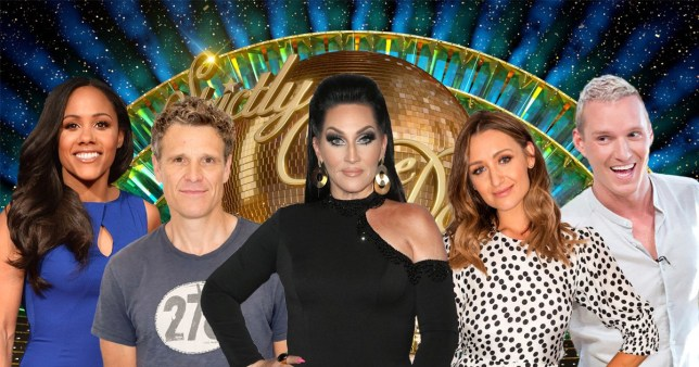 Comp of Alex Scott, James Cracknell, Michelle Visage, Catherine Tyldesley and Jamie Laing