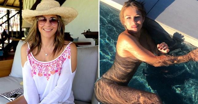 Liz Hurley topless swimming