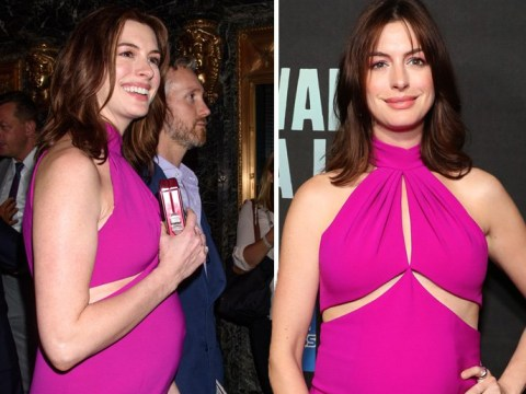 Anne Hathaway definitely has that pregnancy glow as she shows off bump on red carpet after 'infertility hell'