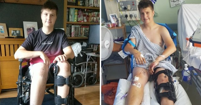 Rhys in hospital and in his wheelchair